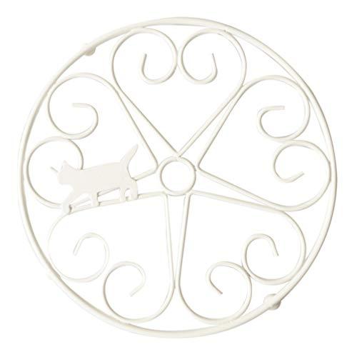 YARNOW Salvamanteles redondo de metal blanco pesado de hierro fundido redondo plato caliente con diseño vintage