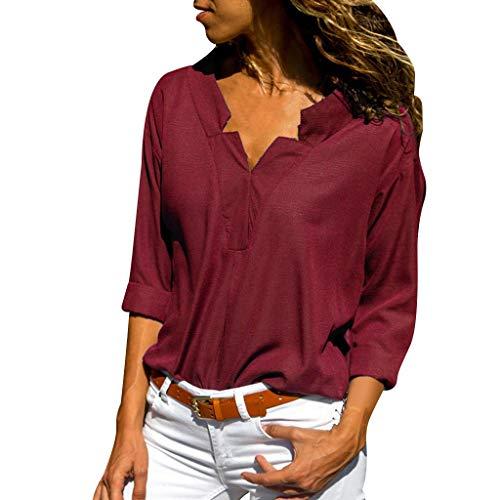 Staresen Blusen Damen Langarm T-Shirt Einfarbiges Hemd V Ausschnitt Hemd Business Hemden Oberteil Casual Tunika Tops Damen Langarmshirt Freizeithemd Pullover Sweatshirt