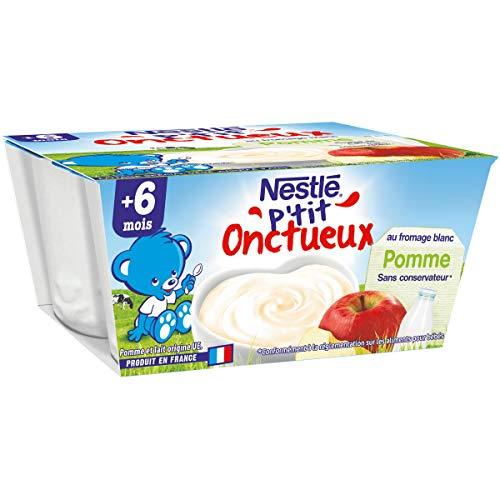Nestlé Bébé P'tit Onctueux au Fromage Blanc Pomme - Laitage dès 6 mois - 4 x 100g - Pack de 6 ( 24 Laitages )