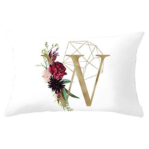 Adokiss Fundas de almohada de poliéster con flores de rosa, 12 letras inglesas W, diseño suave, cómodas, rectangulares, para sofá, dormitorio, decoración, blanco, W, 30 x 50 cm