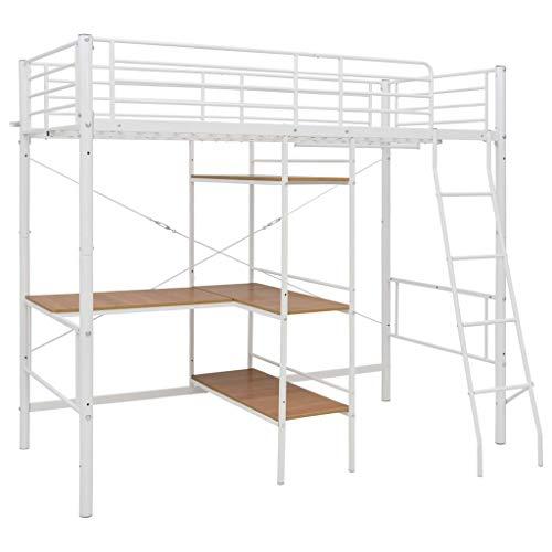 Tidyard Estructura de Litera con Mesa Estructura de Cama de Metal Cama de Dormitorio Blanco 90x200 cm