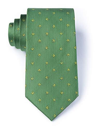 Men's Green Microfiber St Patrick's Day Good Luck Shamrocks Clovers Novelty Tie Necktie (Skinny Tie)