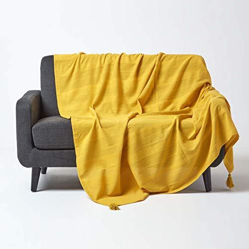 HOMESCAPES Funda de sofá/Manta, Hecho a Mano 100% de algodón Estilo de cordoncillo Color Amarillo 177 x 254 cm