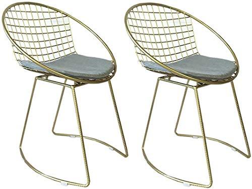 JYV Taburetes de Barra de Hierro Forjado, sillas giratorias, sillas de Barra de Oro, Moda pequeña mesas y sillas (Size : B)