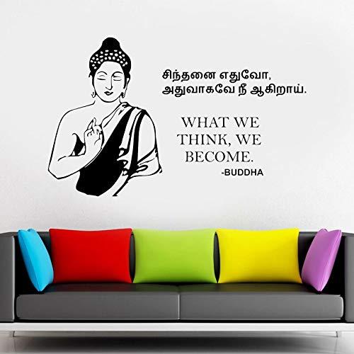 Pegatinas de pared N / A Buddha Teachings vinilo para decoración del hogar Yoga Buda citas pegatinas de pared decoración interior del hogar sala de estar 56 x 56 cm