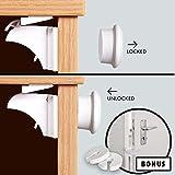 Simple Living 4 cerraduras de armario magnéticas 2 salvadedos para puertas de regalo – Sin herramientas/tornillos Cinta adhesiva 3M