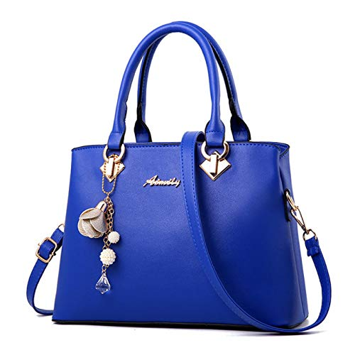 REBKW Women Bag Vintage Handbag Casual Tote Fashion Women Messenger Bags Shoulder Top-Handle Purse Wallet Leather 2021 New Black Blue(Deep Blue,30cm)