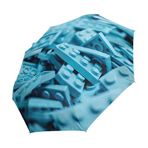MALPLENA Malpela Regenschirm mit Lego, 3-Fach faltbar, automatisch, tragbar, geeignet für Männer/Frauen/Geschenk