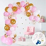 Kit Arco y Guirnalda de Globos | Globos color Rosa, Blanco y Dorado | Ata Globos, Cinta para Globos y Gotitas Adhesivas | Para Cumpleaños, Baby Showers, Bautizos o Bodas para Mujeres y Niñas