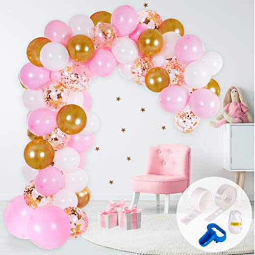 Arco di Palloncini e Kit Ghirlanda   Palloncini Rosa, Bianchi e Oro   Strumento Annodante, Nastro per Palloncini e Adesivo   Decorazione per Compleanno, Battesimo o Matrimonio per Donne e Bambine