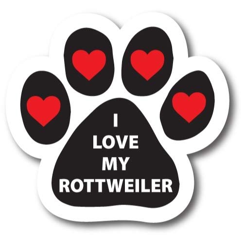 Magnet Me Up I Love My Rottweiler Pawprint Car Magnet Paw Print Auto Truck Decal Magnet
