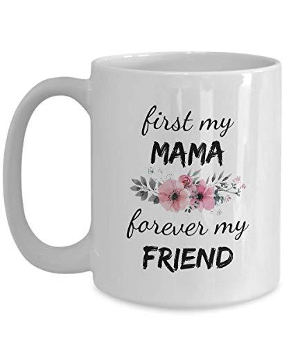 Taza de café con texto en inglés 'Mama Forever My Friend' (325 ml), color blanco