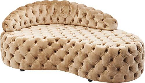 Kare Design Sofa Santa Barbara 162cm, kleine Recamiere in cremefarbenem Stoff, Chaiselongue in Samtstoff und Knopfheftung, Couch für Ankleidezimmer, (H/B/T) 65x162x94cm