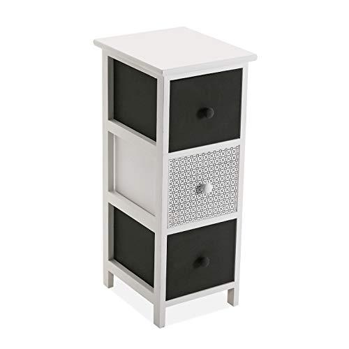 Versa 21520006 Mueble para baño o Cocina con 3 cajones de Madera en Color Blanco y Negro, 62 x 29 x 25 cm