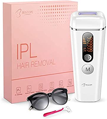 IPL Hair Removal, BESTOPE Laser Hair Removal, Permanent Painless 999,999 Flashes Hair Remover System Device for Women and Men Home Use, Face/Body/Up Lip/Bikini Line/Underarm/Arms/Legs from BESTOPE