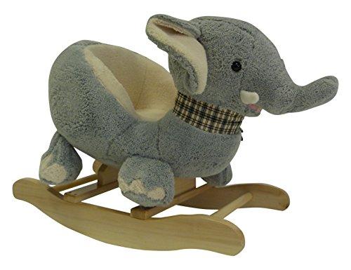 Up&co - BW2150 - Elephant À Bascule Gris en Peluche Douce 65x48x36cm -
