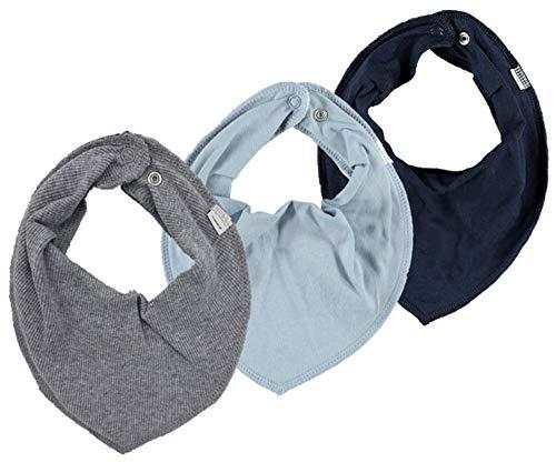 NAME IT 3er Set UNI Baby Dreieckstücher Halstuch Lätzchen 3 Stück (grau-blau-dunkelblau)
