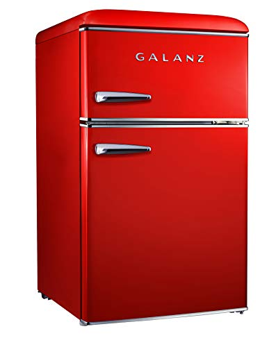 Galanz GLR31TRDER Retro Small Fridge, 3.1 Cu.Ft, Red