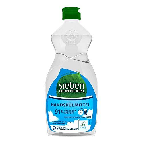 Sieben Generationen Geschirrspülmittel flüssig Free und Clear Geschirreiniger gegen hartnäckige Verschmutzung zu 91% pflanzlich - Hand Spülmittel biologisch abbaubar (500 ml)