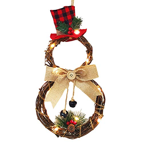 Christmas Wreath, 15.7 Inch LED Merry Christmas Front Door Wreaths Small Christmas Decorations Home Decor