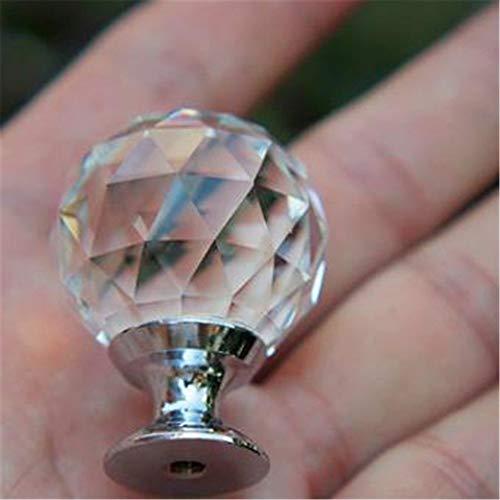 WanuigH kristallen pulls decoratieve knoppen 10 stuks 20 mm ronde helder kristallen bol geometrische Rhombic Cut glazen handgrepen, kast commode sieradendoos lade knoppen mini kast handgrepen voor meubels