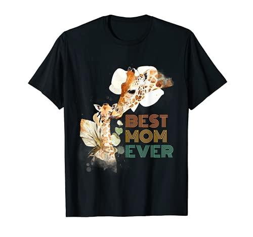 Best Mom Ever Mama Jirafa Lindo Animal Regalo del Día de la Madre Camiseta