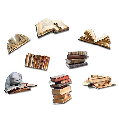 Boeken koelkastmagneten - set van 8 vliegende boeken - magneten met motief boek en kat voor magneetbord magneetbord notitiebord memoboard whiteboard