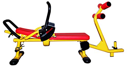 The Abs Bench X2 - Double-Crunch Exercise Bench, Forward Crunch and Reverse Crunch in One Single Movement, Plate Loaded Resistance (Yellow)