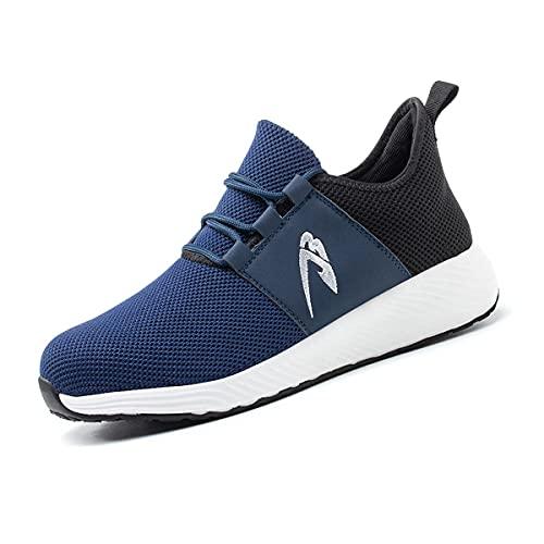 Aingrirn Zapatos de Seguridad Hombre Mujer, Punta de Acero Zapatillas de Trabajo Respirable Antideslizante Construcción Zapatos (Color : Blue, Size : 44 EU)