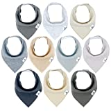 Diaper Squad 100% Organic Cotton Neutral Solid 10-Pack Baby Drool Bandana Bibs for Boys and Girls, Plain Colors