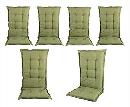 BigDean 6X Hochlehner Auflagen 120 cm grün - Sitz-auflieger für Gartenmöbel - Auflage für Gartenstuhl - Polsterauflage - Sitzauflage Sitzkissen Stuhlauflage