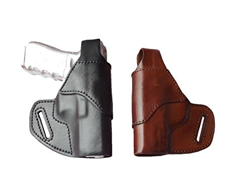 J&J Custom Formed to FIT Kimber Micro 9 W/Crimson Trace Laser Grips (Will NOT FIT W/Laser Guard) OWB (Outside The Waistband) Belt Carry Formed Premium Leather Holster with Thumb Break (Brown, Right)