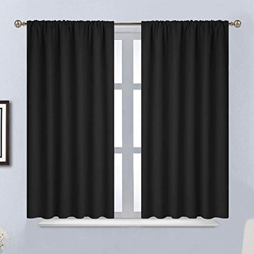 Yakamok Blackout Curtains for Bedroom - Rod Pocket Thermal Insulated Room Darkening Curtains for Living Room, Set of 2 Panels (52 x 45Inch, Black)