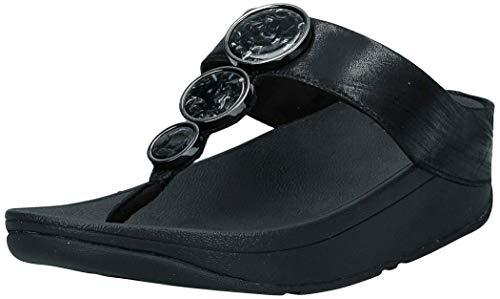 Fitflop Damen Halo Shimmer Toe-Thongs Peeptoe Sandalen, Schwarz (All Black 090), 36 EU