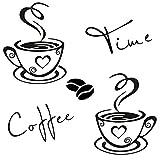 CUNYA Adesivi Murali Cucina, 2 Zazze da Caffè Parete Adesivo e Coffee Time Scritte Adesive per Pareti Decor, Vinile Tazzine Decalcomania Arte Ristorante Bar Decor