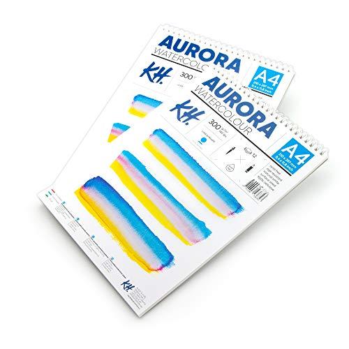 Aurora Bloc de papel para acuarela tamaño A4 (21 x 29,7 cm), 12 hojas, 300 g/m², prensado en frío, sin ácidos, ideal para técnicas húmedas y secas