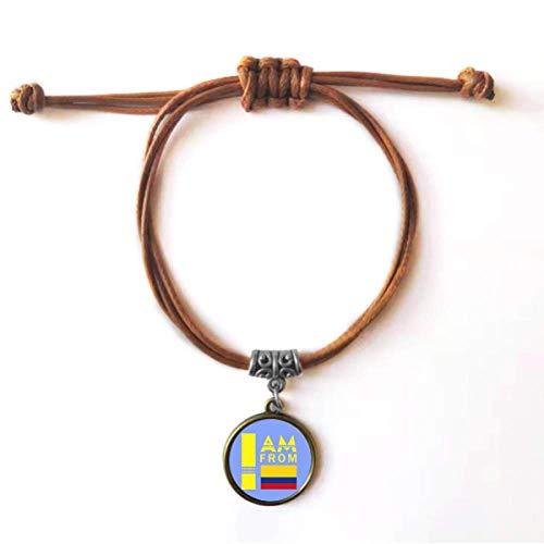 OFFbb-USA - Pulsera de cuero con cuerda de colombiano con texto en inglés 'I Am from Colombia', color marrón
