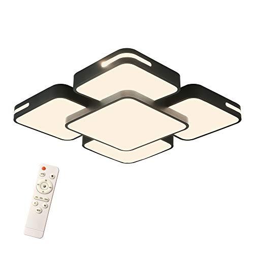 HENGMEI 48W Deckenleuchte LED Deckenlampe Dimmbar mit Fernbedienung Wohnraumleuchte Acryl Küchenlampe für Wohnzimmer Schlafzimmer, Schwarzer Rahmen (Dimmbar, 48W)