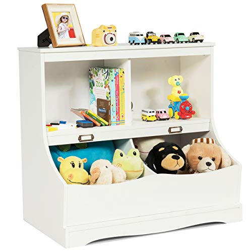 COSTWAY Bücherregal Kinder, Spielzeugregal weiß, Kinderregal für Spielzeug, Aufbewahrungsregal Kinderzimmer, 67x40x62cm