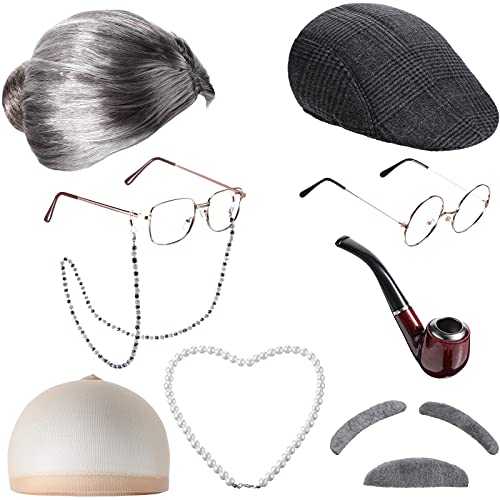 9 Pieces Old Lady Costume Set Old Man Costume Granny Costume for Women Old Lady Wig Grandma Halloween Costume (Classic Style)