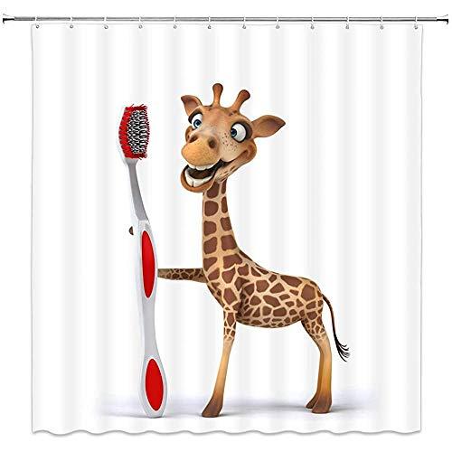wobuzhidaoshamingzi Giraffe douchegordijn Cartoon Grappig dier Mooie Safari Afrikaanse tandenborstel badkamer decoraties, Wit Bruin