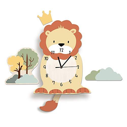Martin Kench Cartoon 3D Tier Motiv Kinder Wanduhr, Uhr ohne Tickgeräusche, Cute Kreativität Kinderuhr Dekoriertes Kinderzimmer Wohnzimmer (Löwe)