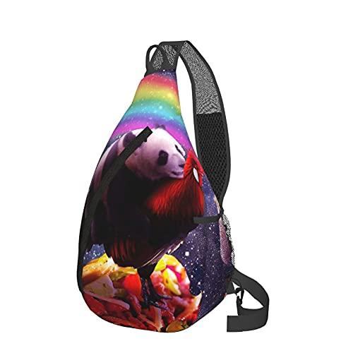 Sling Rucksack Reise Wandern Daypack 3D Grafik gedruckt Crossbody Umhängetasche, Violett - Space Panda Reitendes Huhn Einhorn Taco Burrito Regenbogen Schwarz - Größe: Einheitsgröße