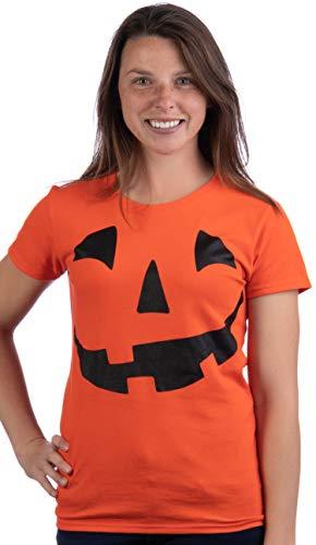 JACK O' LANTERN PUMPKIN Ladies' T-shirt / Easy Halloween Costume Fun Tee, Orange, Large