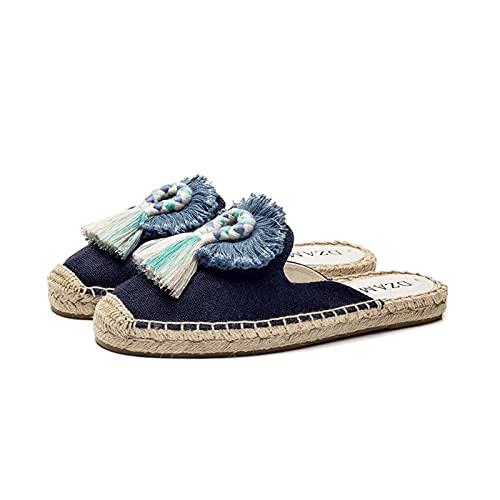 Zapatillas De Mujer Sandalias De Playa De Lino Ligero Zapatillas Lino para El Hogar Verano Interior Zapatillas Sin Deslizamiento Punta Abierta Zapatos Pescador Ocio (Color : Blue, Size : 36 EUR)