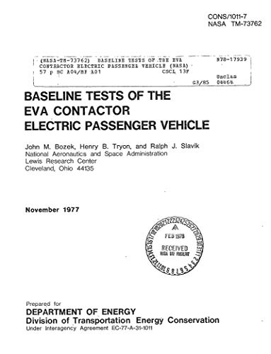 Baseline tests of the EVA contractor electric passenger vehicle (English Edition)