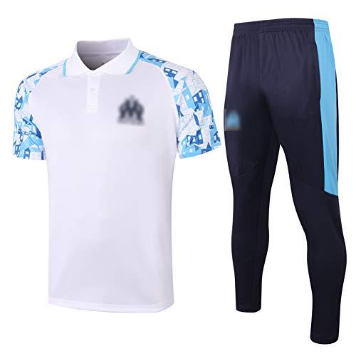BVNGH Marsella - Traje de entrenamiento de camiseta de fútbol, color blanco 2021, ropa deportiva de verano de manga corta, transpirable y de secado rápido (S-XXL) XXL