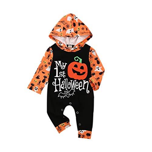 Young Forever Disfraz de Halloween para bebé, niño o niña, con capucha y calabaza, una sola pieza Negro 6-12 Meses