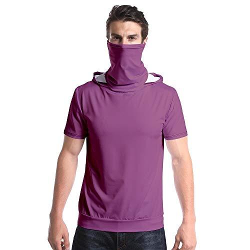 shenme Mens Fitness Elastic Camiseta Pura Tendencia Camiseta 3D con Capucha de Manga Corta con una función de Prueba de Polvo y Camisa de Sun Máscara (Color : Brown, Size : Small)