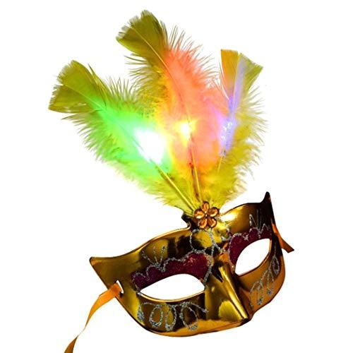 Goodquan Venetiaanse Masquerade Vrouwen Masker Kostuum Party Gezicht Masker Zilver Hallowmas Masquerade Geel